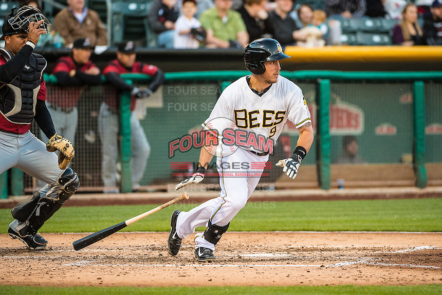 Alex Yarbrough (9) of the Salt Lake Bees at bat against the Sacramento River Cats in Pacific Coast League action at Smith's Ballpark on April 17, 2015 in Salt Lake City, Utah.  (Stephen Smith/Four Seam Images)