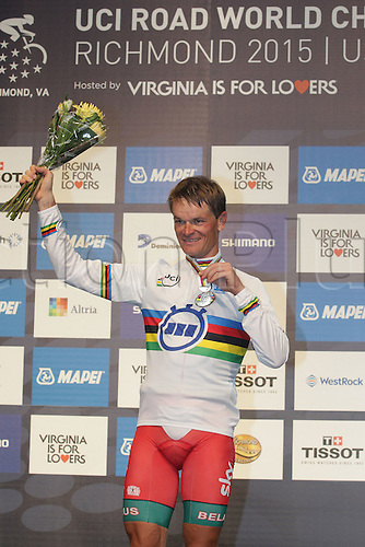 23.09.2015. Richmond, Virginia, USA. World Championship Cycling, Mens Elite time trials.  Basil Kiryienka of Bulgaria on the winners podium