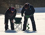 Mike Vanagas and a friend ice-fishing on Pocantico Lake near Sleepy Hollow in Westchester