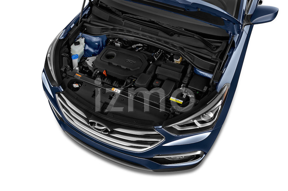 Car Stock 2017 Hyundai Santa-Fe Sport 5 Door SUV Engine  high angle detail view