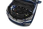 Car Stock 2017 Hyundai Santa-Fe Sport 5 Door SUV Engine  high angle detail view