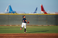 AZL Indians Red second baseman Jothson Flores (9) pursues a pop fly during an Arizona League game against the AZL Padres 1 on June 23, 2019 at the Cleveland Indians Training Complex in Goodyear, Arizona. AZL Indians Red defeated the AZL Padres 1 3-2. (Zachary Lucy/Four Seam Images)