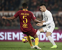 Football, Serie A: AS Roma - InterMilan, Olympic stadium, Rome, December 02, 2018. <br /> IInter&rsquo;s Javier Lautaro Martinez (r) in action with Roma's Juan Jesus (l) during the Italian Serie A football match between Roma and Inter at Rome's Olympic stadium, on December 02, 2018.<br /> UPDATE IMAGES PRESS/Isabella Bonotto