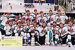 Cathay Flyers squad poses for photos with the champion's trophy during the Mega Ice Hockey 5s International Elite Final match between Nordic Vikings and Cathay Flyers on May 05, 2018 in Hong Kong, Hong Kong. Photo by Marcio Rodrigo Machado / Power Sport Images