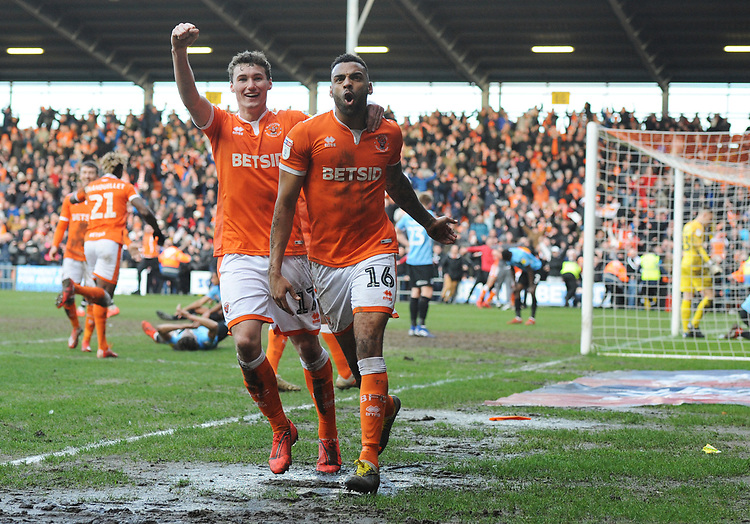 Blackpool's Curtis Tilt (right) and Matthew Virtue celebrate their side's equalising goal to make the score 2-2 <br /> <br /> Photographer Kevin Barnes/CameraSport<br /> <br /> The EFL Sky Bet League One - Blackpool v Southend United - Saturday 9th March 2019 - Bloomfield Road - Blackpool<br /> <br /> World Copyright © 2019 CameraSport. All rights reserved. 43 Linden Ave. Countesthorpe. Leicester. England. LE8 5PG - Tel: +44 (0) 116 277 4147 - admin@camerasport.com - www.camerasport.com