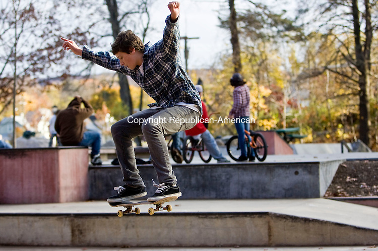 BRISTOL, CT - 02 NOVEMBER 2009 -110209JT04-<br /> Ben Slohm, 14, of Litchfield, is airborne on his skateboard while at Rockwell Park Skate Plaza in Bristol on Monday. Slohm said he comes to the park once or twice a week.<br /> Josalee Thrift Republican-American