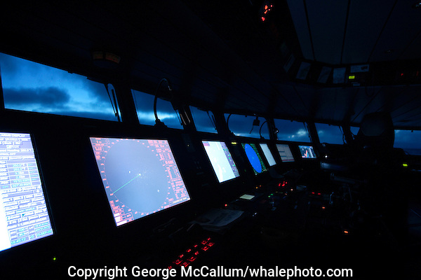 Control console of state of the art Oceanography and fisheries research ship G.O. Sars at dusk. North Atlantic