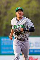 Clinton LumberKings infielder Rayder Ascanio (13) jogs to the dugout between innings during a Midwest League game against the Wisconsin Timber Rattlers on May 9th, 2016 at Fox Cities Stadium in Appleton, Wisconsin.  Clinton defeated Wisconsin 6-3. (Brad Krause/Four Seam Images)