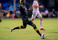 16th July 2020, Orlando, Florida, USA;  Columbus Crew forward Gyasi Zerdes (11) shoots the ball during the MLS Is Back Tournament between the Columbus Crew SC versus New York Red Bulls on July 16, 2020 at the ESPN Wide World of Sports, Orlando FL.