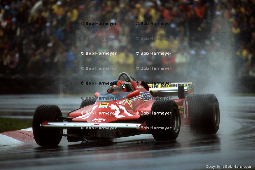 MONTREAL, QC - SEPTEMBER 27: Gilles Villeneuve drives the Ferrari F126CK 052/Ferrari 021 during the Canadian Grand Prix on September 27, 1981, at Circuit Île Notre-Dame in Montreal, Quebec, Canada.