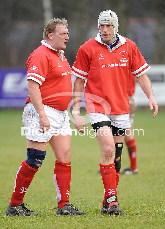 Stuart Duncan and Paddy Johns in action during the charity match between the Ulster 1999 XV and a Wooden Spoon Select XV at Shaw's Bridge Belfast.  Mandatory Credit - Photo : Oliver McVeigh
