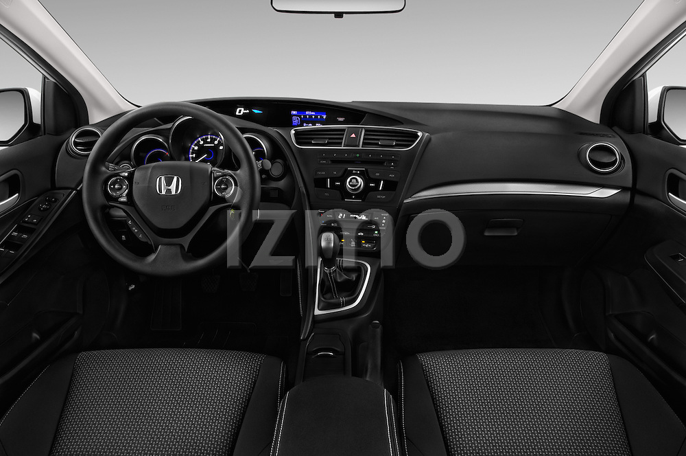 Stock photo of straight dashboard view of 2015 Honda Civic Comfort 5 Door Hatchback Dashboard