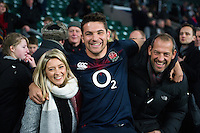 Charlie Ewels of England poses for a photo with his family after the match. Old Mutual Wealth Series International match between England and Argentina on November 26, 2016 at Twickenham Stadium in London, England. Photo by: Patrick Khachfe / Onside Images
