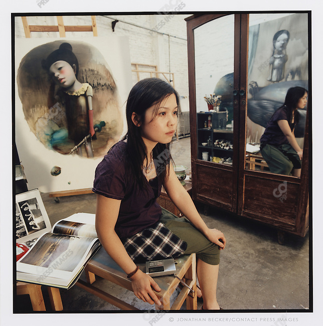 Chen Ke, sculptor and painter in her studio, Liquor Factory neighborhood, Beijing, China, 2007