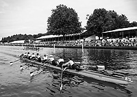 Henley-on-Thames. United Kingdom.  Ladies Challenge Cup, Brown University USA, passing the progress board, during their winning heat to progress to Sat's Semi Final. 2017 Henley Royal Regatta, Henley Reach, River Thames. <br /> <br /> <br /> 15:06:10  Friday  30/06/2017   <br /> <br /> [Mandatory Credit. Peter SPURRIER/Intersport Images.