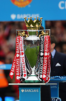 Pictured: Premier League cup.<br /> Sunday 12 May 2013<br /> Re: Barclay's Premier League, Manchester City FC v Swansea City FC at the Old Trafford Stadium, Manchester.
