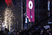 June 27, 2018: Andres Manuel Lopez Obrador, the opposition candidate of MORENA party running for presidency, during his closing campaign rally at the Azteca stadium, the country's largest soccer stadium, in Mexico City, Mexico. National elections will be hold on July 1.