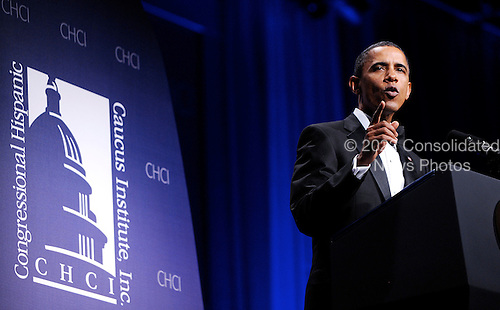 United States President Barack Obama speaks at the Congressional Hispanic Caucus Institute's 33rd Annual Awards Gala at the Washington Convention Center in Washington D.C., Wednesday,  September 15 2010..Credit: Olivier Douliery / Pool via CNP