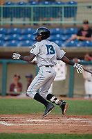 Hudson Valley Renegades Luis Arcendo (13) bats during a NY-Penn League game against the Mahoning Valley Scrappers on July 15, 2019 at Eastwood Field in Niles, Ohio.  Mahoning Valley defeated Hudson Valley 6-5.  (Mike Janes/Four Seam Images)