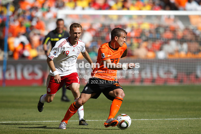 JOHANNESBURG - JUNE 14:  Rafael Van der Vaart of the Netherlands drives the ball during a 2010 FIFA World Cup soccer match against Denmark June 14, 2010 in Johannesburg, South Africa.  NO mobile use.  Editorial ONLY.  (Photograph by Jonathan P. Larsen)