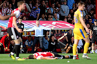 Brentford Manager, Dean Smith, reacts after a challenge from Sam Morsy of Wigan on Brentford's Yoann Barbet  during Brentford vs Wigan Athletic, Sky Bet EFL Championship Football at Griffin Park on 15th September 2018
