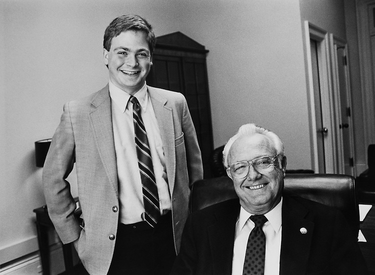 Sam Coring with Rep. Mel Hancock, R-Mo. January 29, 1989. (Photo by Andrea Mohin/CQ Roll Call)
