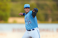 Burlington Royals relief pitcher Cruz Noriega (35) in action against the Johnson City Cardinals at Burlington Athletic Stadium on September 3, 2019 in Burlington, North Carolina. The Cardinals defeated the Royals 7-2 to even Appalachian League Championship series at one game a piece. (Brian Westerholt/Four Seam Images)
