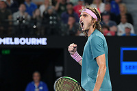 January 20, 2019: 14th seed Stefanos Tsitsipas of Greece in action in the fourth round match against 3rd seed Roger Federer of Switzerland on day seven of the 2019 Australian Open Grand Slam tennis tournament in Melbourne, Australia. Photo Sydney Low