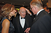 Washington, DC - April 26, 2003 -- Former GE Chairman Jack Welch, center, with Suzy Wetlaufer, left, and talk show host John McLaughlin prior to the White House Correspondents Dinner, Washington, DC, April 26, 2003.<br /> Credit: Ron Sachs / CNP<br /> (RESTRICTION: NO New York or New Jersey Newspapers or newspapers within a 75 mile radius of New York City)