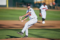Great Falls Voyagers starting pitcher Jason Morgan (28) during a Pioneer League game against the Missoula Osprey at Centene Stadium at Legion Park on August 19, 2019 in Great Falls, Montana. Missoula defeated Great Falls 4-1 in the first game of a doubleheader. Games were moved from Missoula after Ogren Park at Allegiance Field, the Osprey's home field, was ruled unplayable. (Zachary Lucy/Four Seam Images)