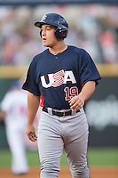 Matt Thaiss (19) of the US Collegiate National Team during the game against the Cuban National Team at BB&T BallPark on July 4, 2015 in Charlotte, North Carolina.  The United State Collegiate National Team defeated the Cuban National Team 11-1.  (Brian Westerholt/Four Seam Images)