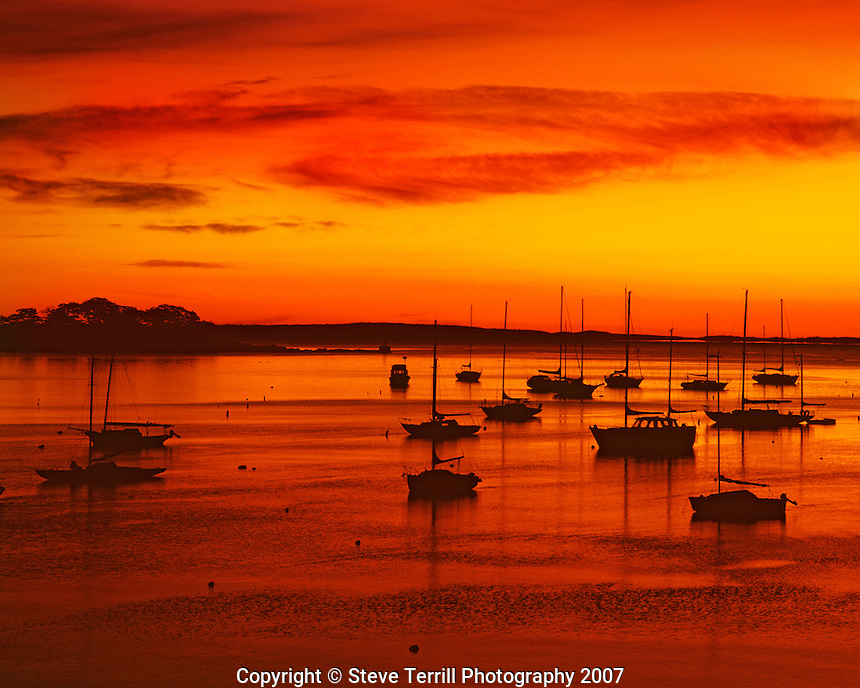 USA, Maine, sailboats silhouetted at sunrise in harbor at Camden.