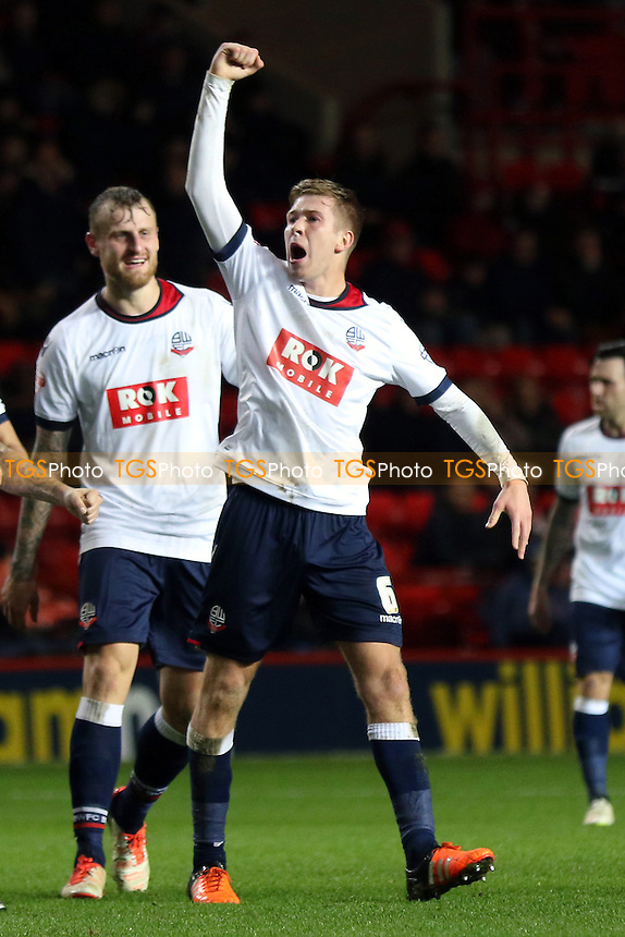 Josh Vela celebrates scoring Bolton's second goal during Charlton Athletic vs Bolton Wanderers at The Valley