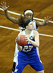 SIOUX FALLS MARCH 23:  Keiahnna Engel #21 of Alaska Anchorage applies pressure to Kayla Dawson #23 from Grand Valley State during their Women's 2016 Elite 8 Division II Basketball Championship semifinal game at the Sanford Pentagon in Sioux Falls, S.D. (Photo by Dave Eggen/Inertia)