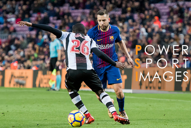 Jordi Alba Ramos (R) of FC Barcelona battles for the ball with Shaquell Moore, Shaq Moore, of Levante UD during the La Liga 2017-18 match between FC Barcelona and Levante UD at Camp Nou on 07 January 2018 in Barcelona, Spain. Photo by Vicens Gimenez / Power Sport Images