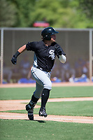 Chicago White Sox first baseman Corey Zangari (25) runs to first base during an Instructional League game against the Kansas City Royals at Camelback Ranch on September 25, 2018 in Glendale, Arizona. (Zachary Lucy/Four Seam Images)