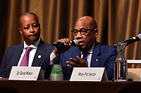 New York, NY - April 5, 2019: Dr. David Wilson (right), President of Morgan State University, speaks during the National Action Network's Annual Convention hosted by the Rev. Al Sharpton at the Sheraton Hotel in New York City April 5, 2019.  (Photo by Don Baxter/Media Images International)
