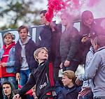 AMSTELVEEN -   vuurwerk   tijdens de play-offs hoofdklasse  heren , Amsterdam-Bloemendaal (0-2).    COPYRIGHT KOEN SUYK