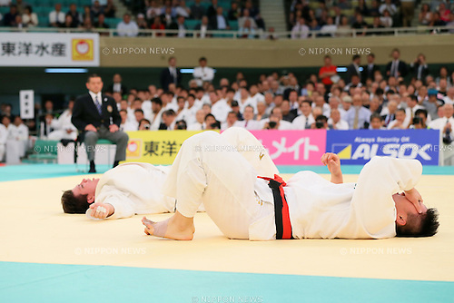 (L-R) Ryu Shichinohe, Hisayoshi Harasawa, APRIL 29, 2015 - Judo : 2015 All Japan Judo Championships Final at Nippon Budokan, Tokyo, Japan. <br /> (Photo by Yohei Osada/AFLO SPORT)