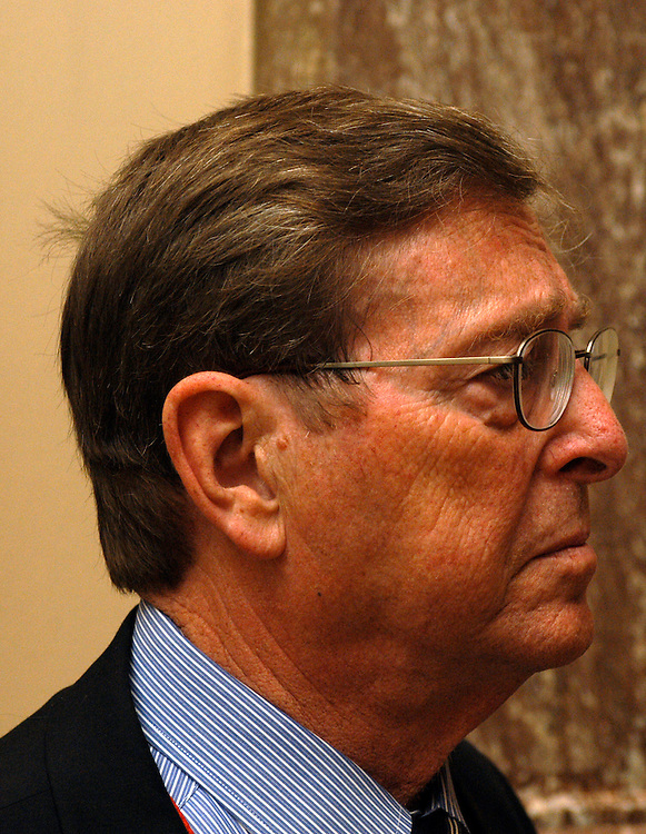 Sen.  Pete Domenici, R-NM, answers questions from the press during the luncheon.