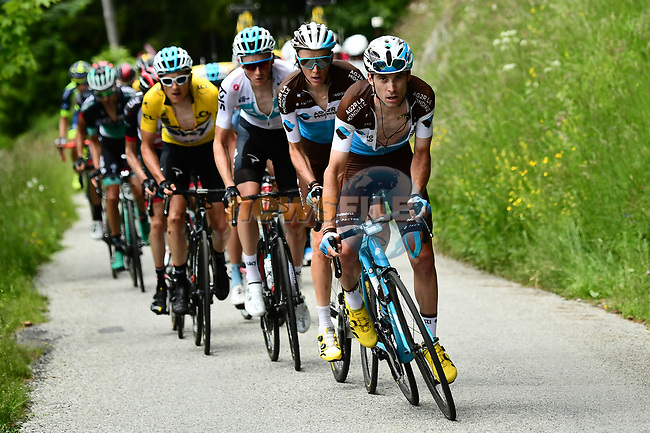 The peleton with Pierre Roger Latour and Romain Bardet (FRA) AG2R La Mondiale on the front during Stage 6 of the 2018 Criterium du Dauphine 2018 running 110km from Frontenex to La Rosiere, France. 9th June 2018.<br /> Picture: ASO/Alex Broadway | Cyclefile<br /> <br /> <br /> All photos usage must carry mandatory copyright credit (© Cyclefile | ASO/Alex Broadway)