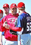 1 March 2010: Washington Nationals' starting pitcher Livan Hernandez chats with starting pitcher Shawn Estes during Spring Training at the Carl Barger Baseball Complex in Viera, Florida. Mandatory Credit: Ed Wolfstein Photo