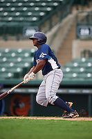 GCL Rays first baseman Devin Davis (32) at bat during the second game of a doubleheader against the GCL Orioles on August 1, 2015 at the Ed Smith Stadium in Sarasota, Florida.  GCL Orioles defeated the GCL Rays 11-4.  (Mike Janes/Four Seam Images)