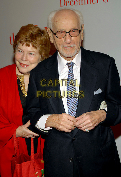 "ANNE JACKSON & ELI WALLACH.""The Holiday"" world premiere at the Ziegfeld Theater, New York, NY, USA..November 29th, 2006.half length black suit jacket glasses red.CAP/ADM/PH.©Paul Hawthorne/AdMedia/Capital Pictures *** Local Caption ***"