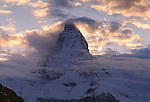 Clouds around the summit of the Matterhorn , Zermat