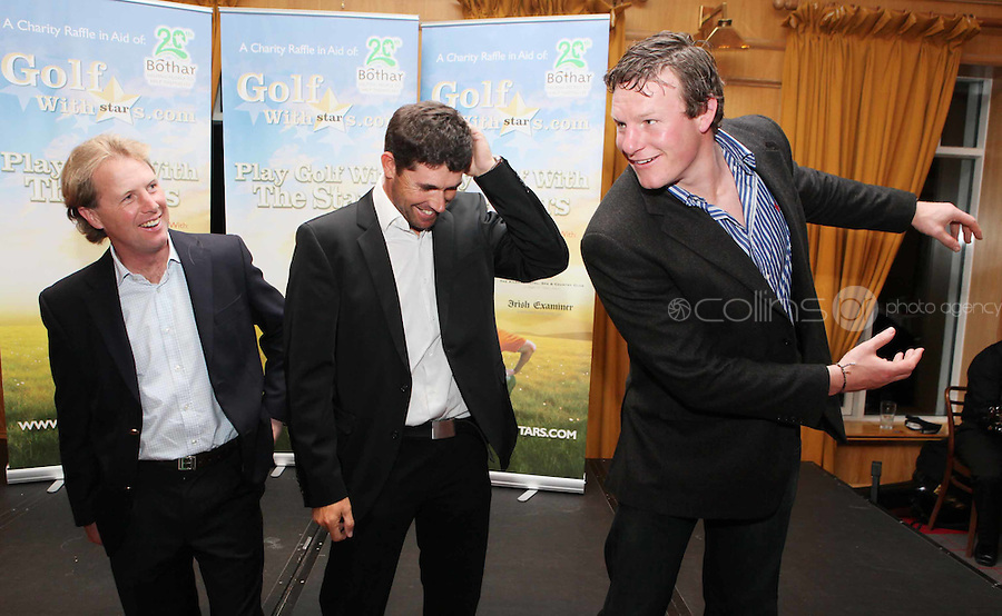 NO REPRO FEE. Pádraig Harrington and Bóthar's Golf With Stars. L-R Charlie Swan, Pádraig Harrington and Malcom O Kelly are pictured at the K Club for Bóthar's Golf With Stars.  Sporting stars from all disciplines took to the greens of the K Club yesterday, Friday, October 22nd to play a round of golf with members of the general public who won places through Bóthar's Golf With Stars. The winners received their prizes from Pádraig Harrington in a ceremony yesterday evening. Proceeds from the raffle will go to towards supporting Bóthar's projects in Pakistan. For further information phone 1850 82 99 99 or log onto bothar.org. Picture James Horan/Collins Photos