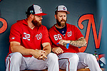 26 February 2019: Washington Nationals pitcher Justin Miller (60) chats with teammate pitcher Aaron Barrett (32) prior to a Spring Training game against the St. Louis Cardinals at the Ballpark of the Palm Beaches in West Palm Beach, Florida. The Nationals fell to the visiting Cardinals 6-1 in Grapefruit League play. Mandatory Credit: Ed Wolfstein Photo *** RAW (NEF) Image File Available ***