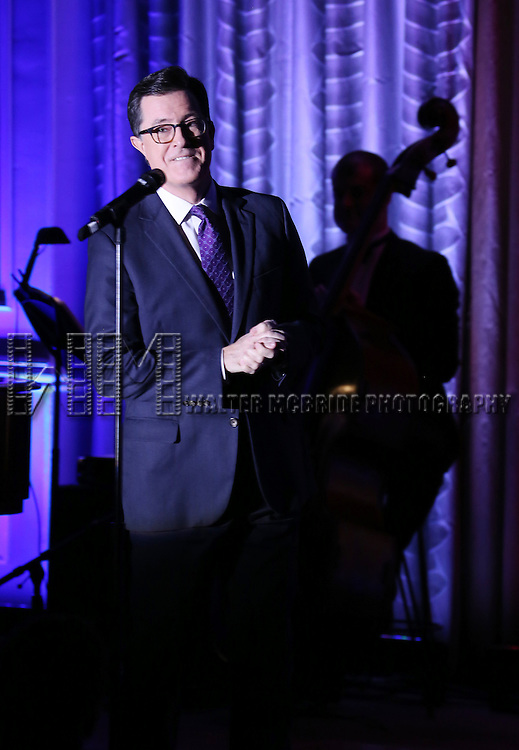 Stephen Colbert performs during the Drama League's 30th Annual 'Musical Celebration of Broadway' honoring Neil Patrick Harris at the Pierre Hotel on February 3, 2014 in New York City.