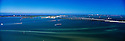 Panoramic view of the Rickenbacker Causeway and Biscayne Bay. View toward Key Biscayne, Florida