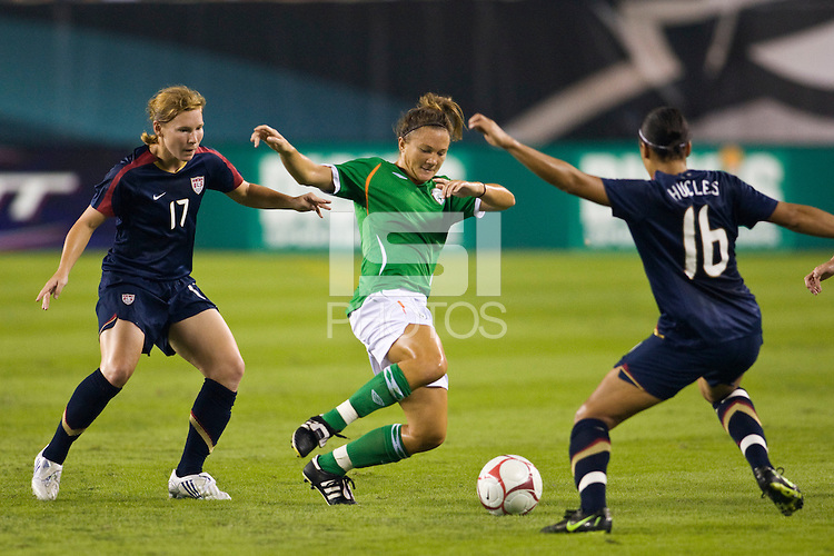 Republic of Ireland (IRL) forward Michele O'Brien (10) and United States (USA) defender Lori Chalupny (17) and forward Angela Hucles (16). The United States Women's National Team (USA) defeated the Republic of Ireland (IRL) 2-0 during an international friendly at Lincoln Financial Field in Philadelphia, PA, on September 13, 2008.